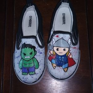 Chibi avengers inspired hand painted shoes